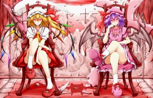 blonde hair, blue hair, dress, flandre scarlet, karamoneeze, purple hair, red eyes, remilia scarlet, scythe, touhou