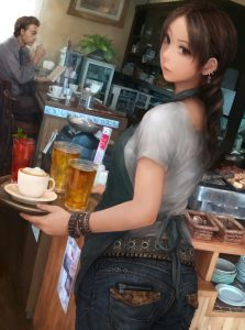 brunettes women jeans indoors room tie reading men cups long hair belts spoons b